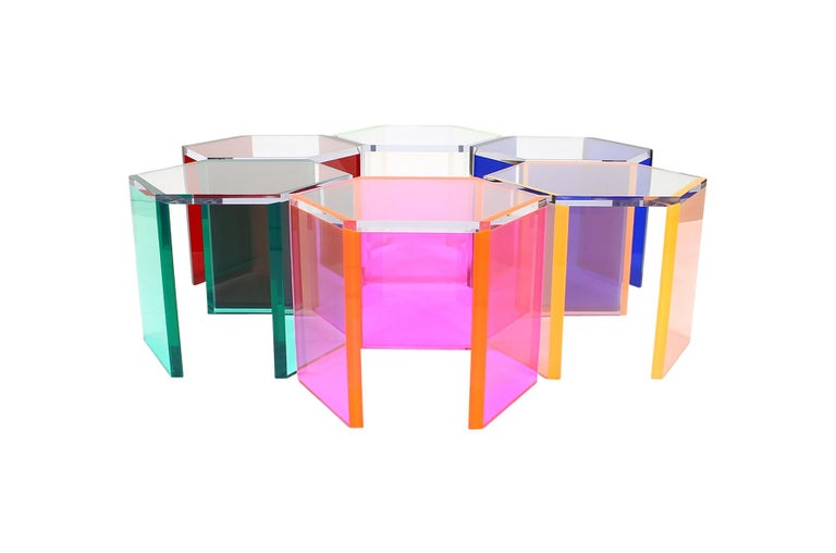 Set of six acrylic tables by Yugoslavian born California based artist Vasa Velizar Mihich. Rare to see furniture by the noted acrylic artist, these are essentially functional pieces of sculpture. Vasa's work is held in numerous private and public