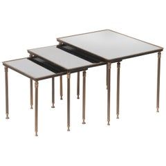 Nest of Tables Hollywood Regency style Glass, Brass and Iron, Mid 20th Century