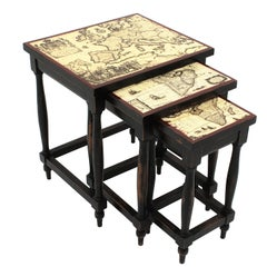 Nesting Tables with World Maps Tops