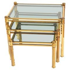 Nest of three 1960s Italian Brass Side Tables