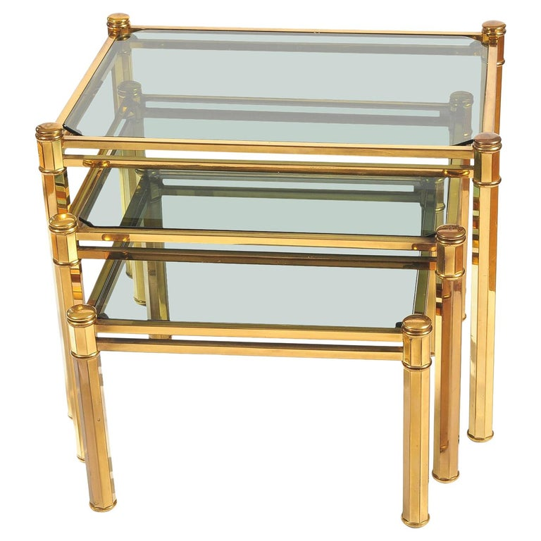 Nest of three 1960s Italian Brass Side Tables For Sale