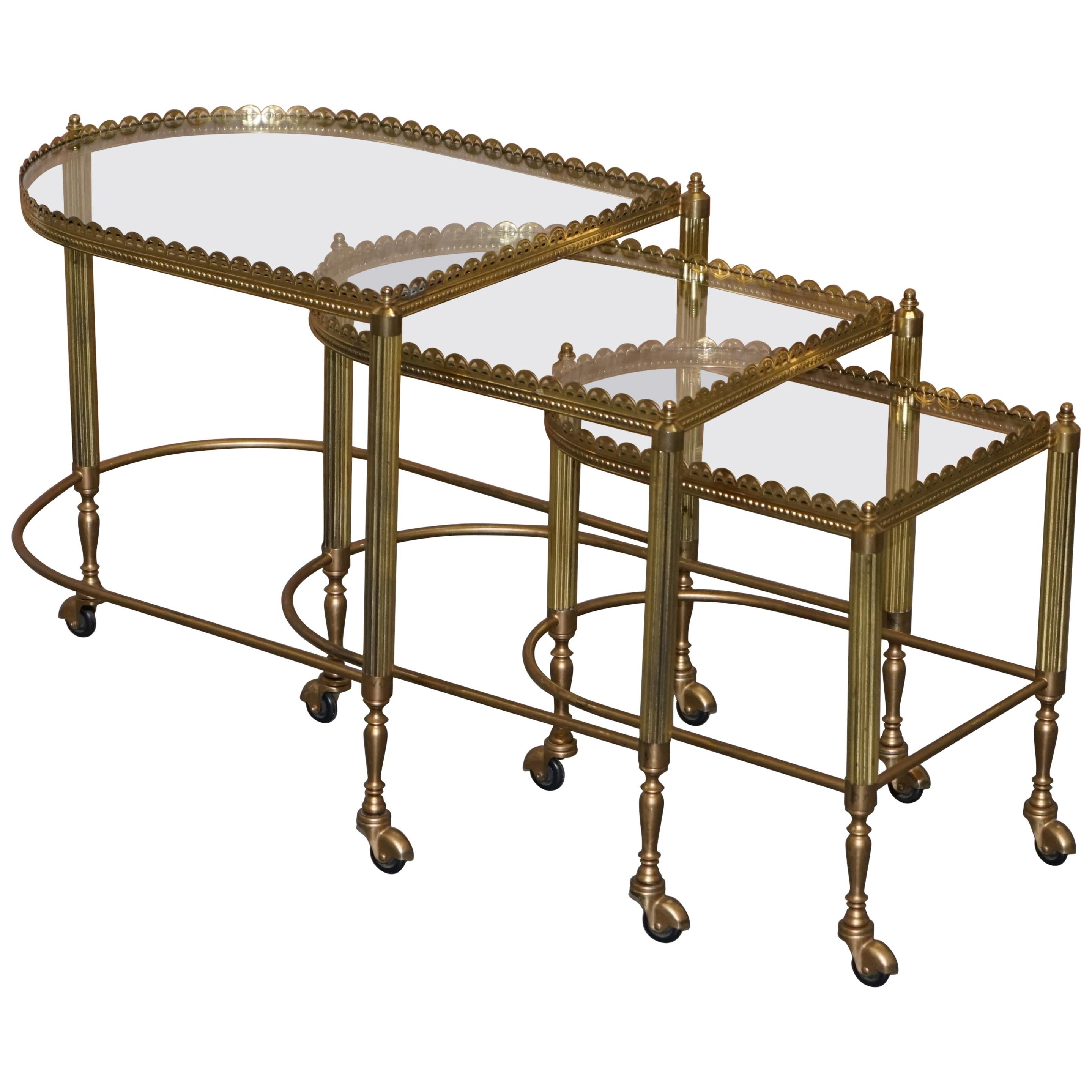 Nest of Three Brass & Glass Trolley Tables by Maison Bagues France, Midcentury