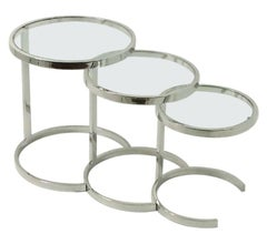 Nest of Three Chrome and Glass Tables