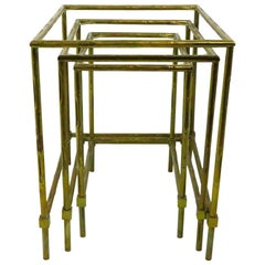 Nest of Three Faux Bamboo Brass Nesting Tables