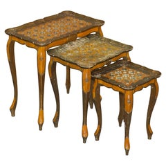Nest of Three G Serraglini Firenze Tables Made in Italy Hand Painted Distressed