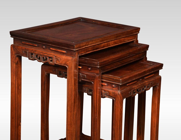 20th Century Nest of Three Graduated Chinese Rosewood Tables For Sale
