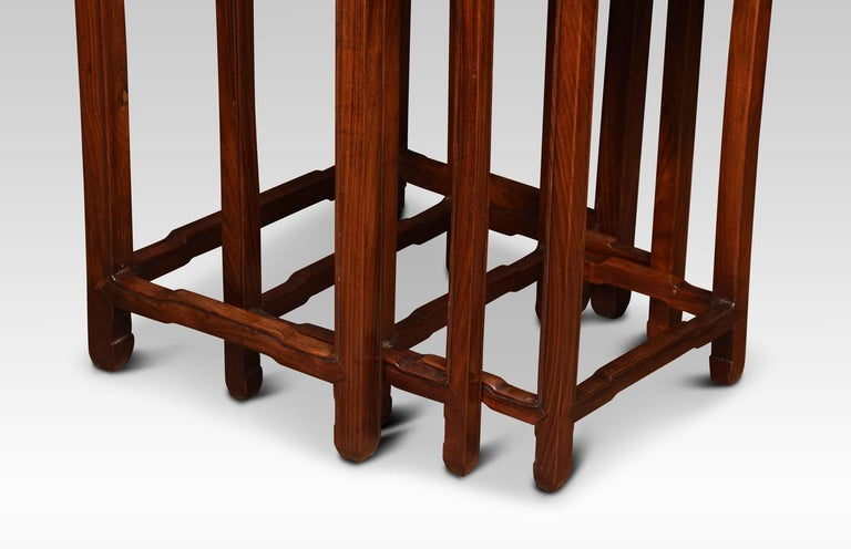 Hardwood Nest of Three Graduated Chinese Rosewood Tables For Sale