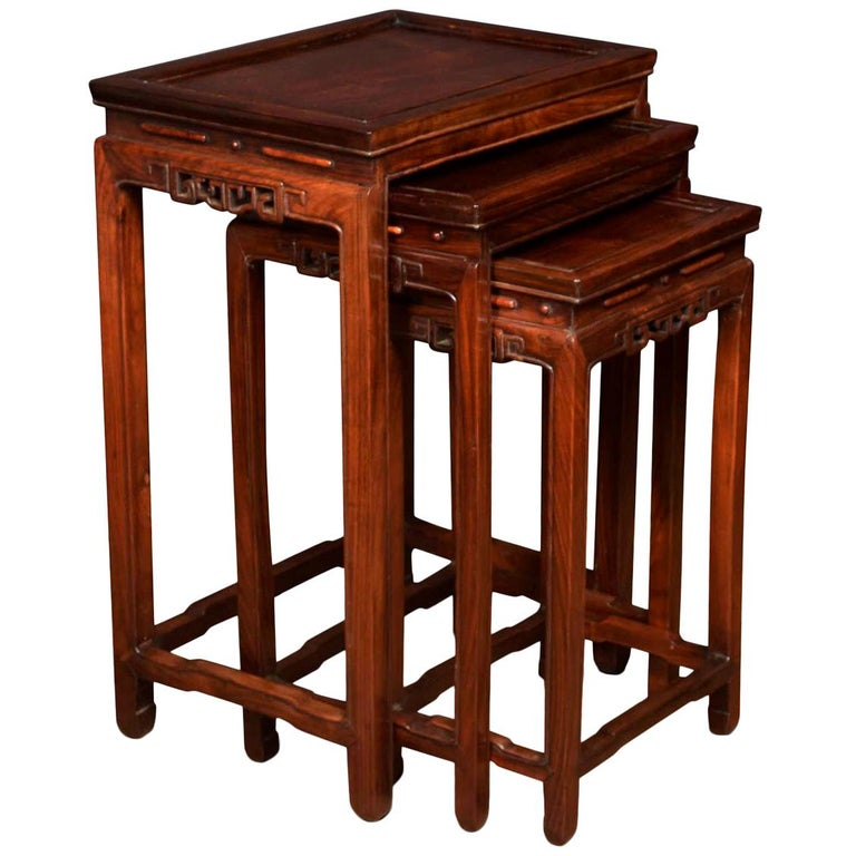Nest of Three Graduated Chinese Rosewood Tables For Sale