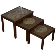 Nest of Three Vintage Campaign Tables with Global Maps Design Brass Corners