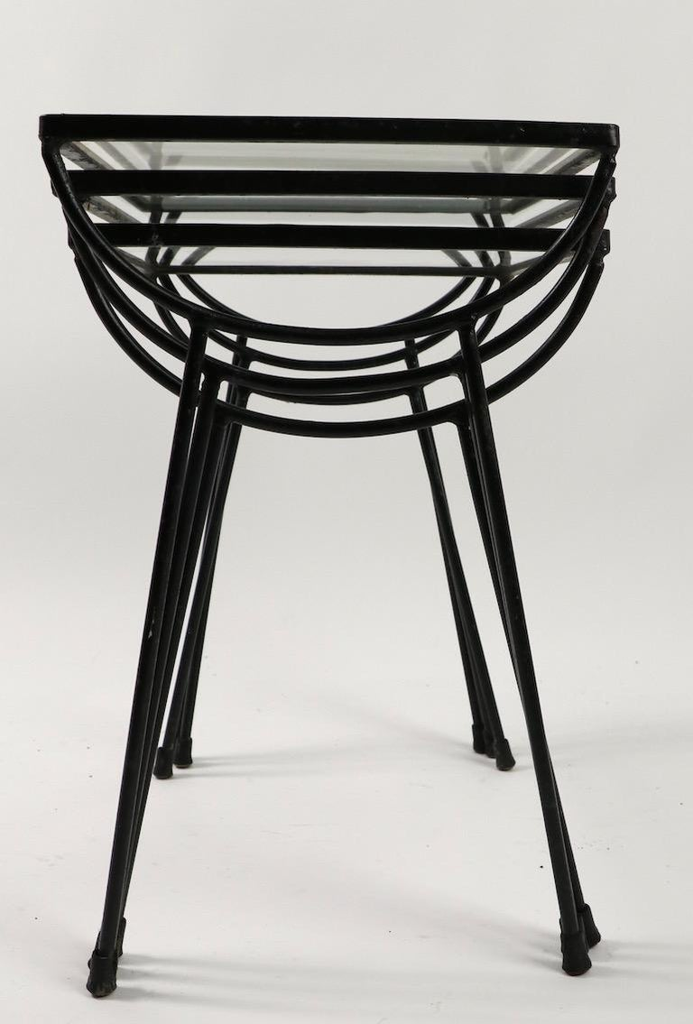 Nest of Three Wrought Iron Tables by Frank and Sons after Nelson for Arbuck For Sale 3