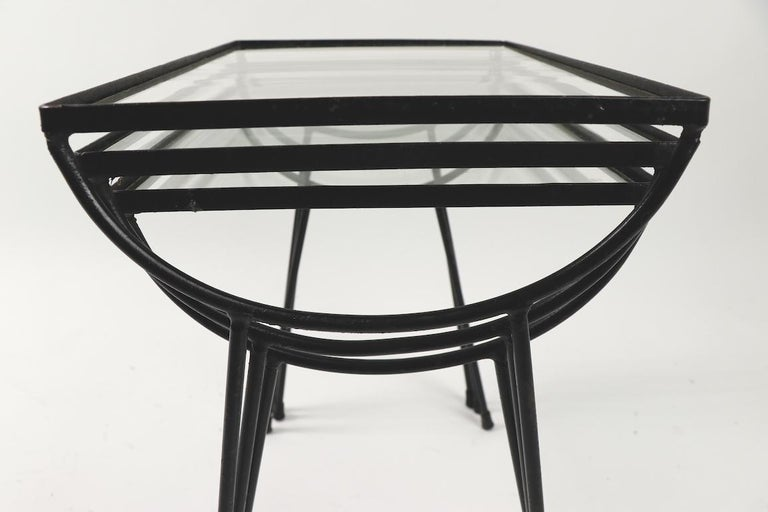 Nest of Three Wrought Iron Tables by Frank and Sons after Nelson for Arbuck For Sale 4