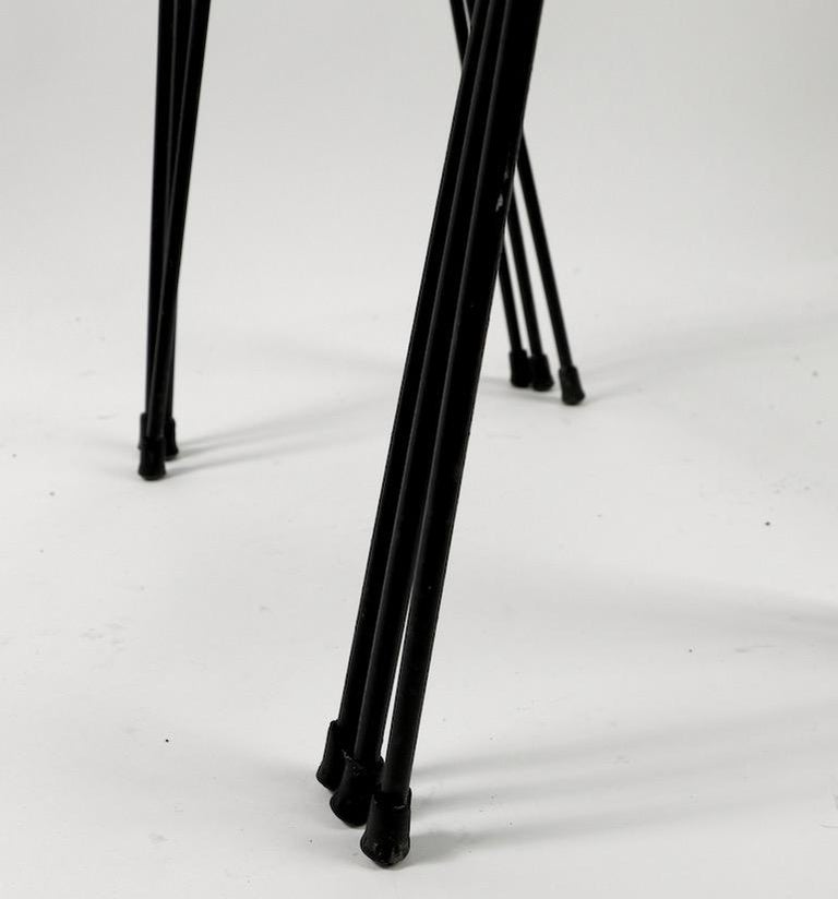 Nest of Three Wrought Iron Tables by Frank and Sons after Nelson for Arbuck For Sale 5