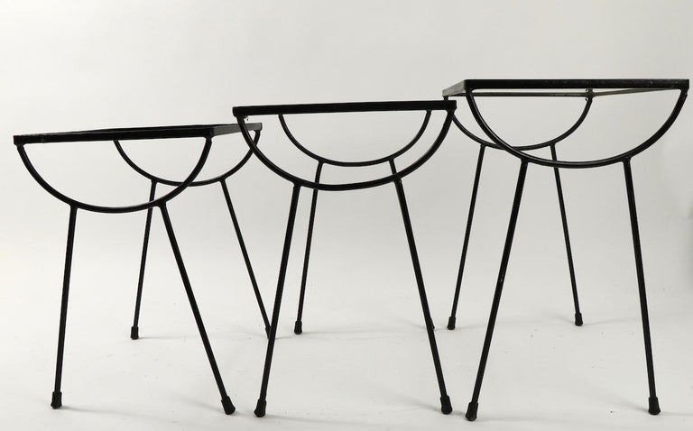 Nest of Three Wrought Iron Tables by Frank and Sons after Nelson for Arbuck For Sale 6