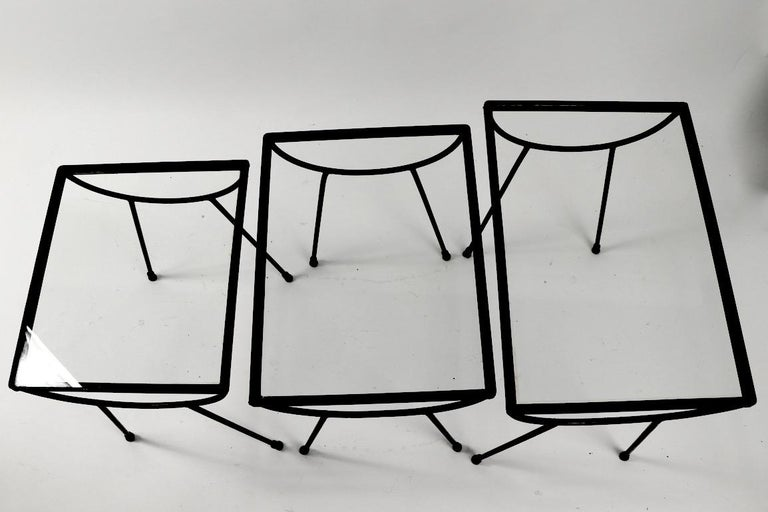 Nest of Three Wrought Iron Tables by Frank and Sons after Nelson for Arbuck For Sale 8