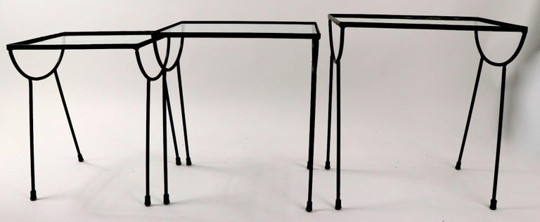 Mid-Century Modern Nest of Three Wrought Iron Tables by Frank and Sons after Nelson for Arbuck For Sale