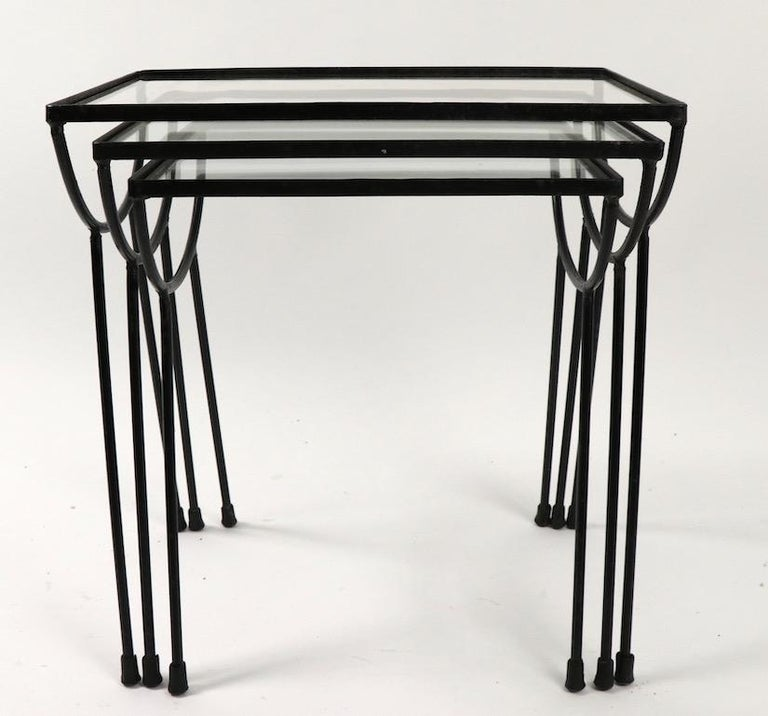 American Nest of Three Wrought Iron Tables by Frank and Sons after Nelson for Arbuck For Sale