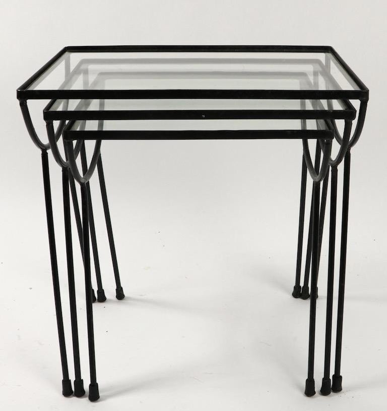 Nest of Three Wrought Iron Tables by Frank and Sons after Nelson for Arbuck In Good Condition For Sale In New York, NY