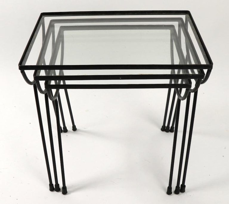 20th Century Nest of Three Wrought Iron Tables by Frank and Sons after Nelson for Arbuck For Sale