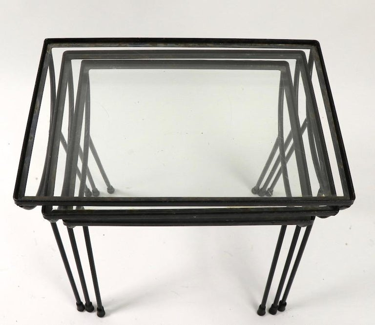 Glass Nest of Three Wrought Iron Tables by Frank and Sons after Nelson for Arbuck For Sale