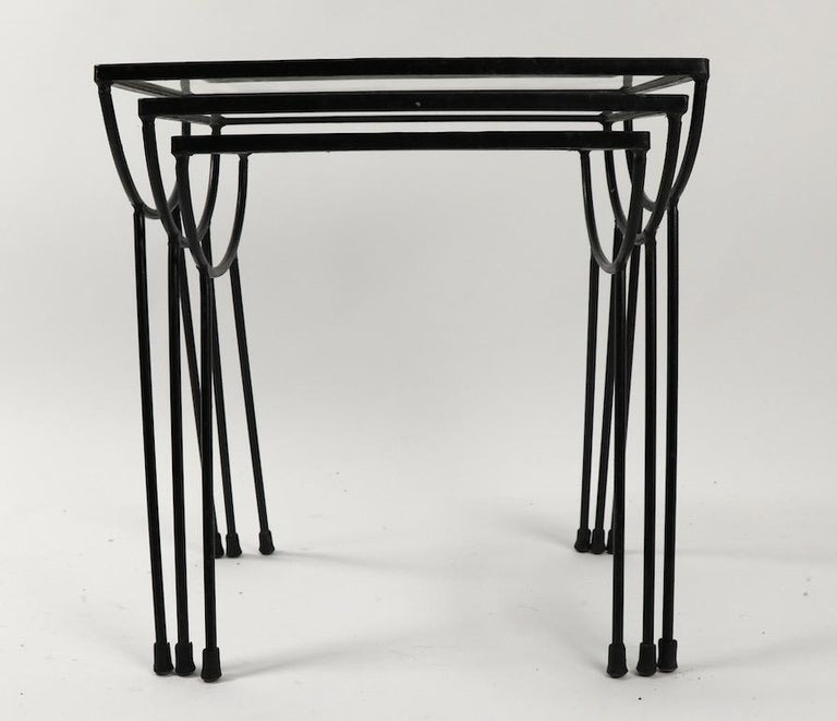 Nest of Three Wrought Iron Tables by Frank and Sons after Nelson for Arbuck For Sale 1