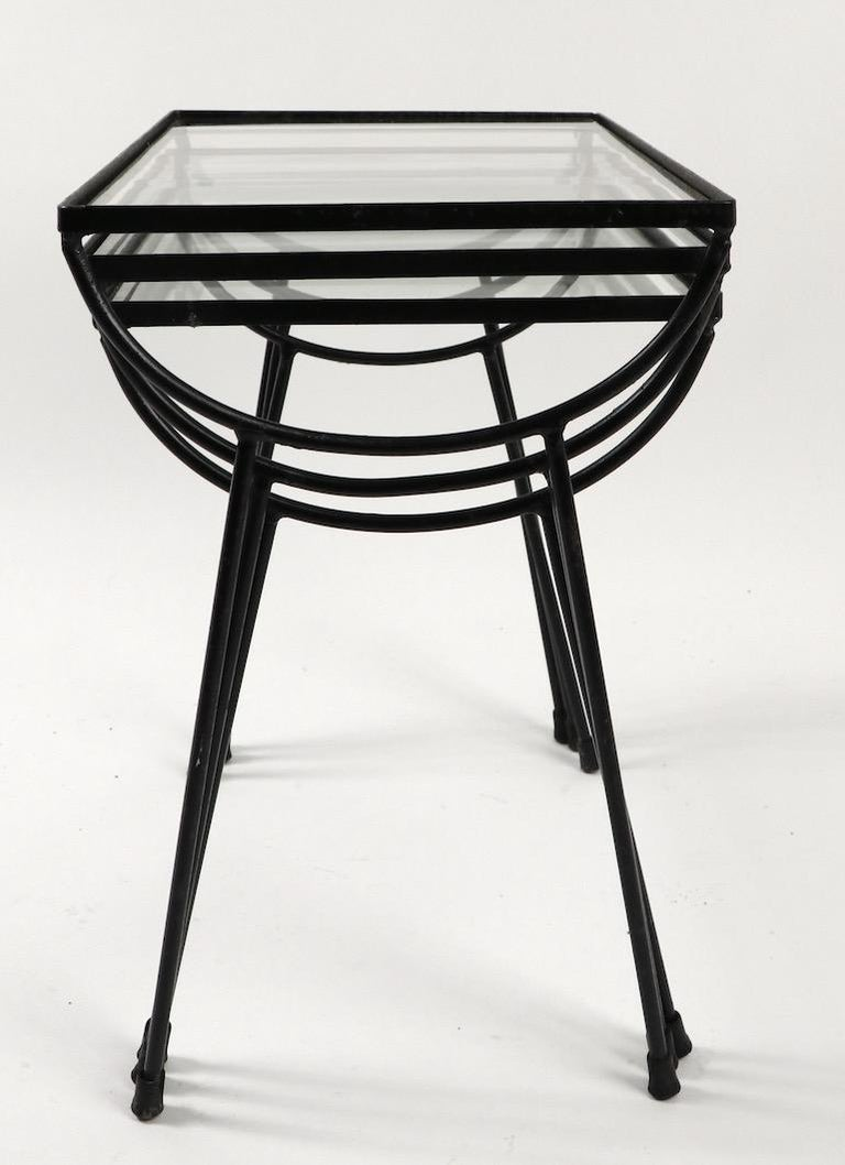 Nest of Three Wrought Iron Tables by Frank and Sons after Nelson for Arbuck For Sale 2