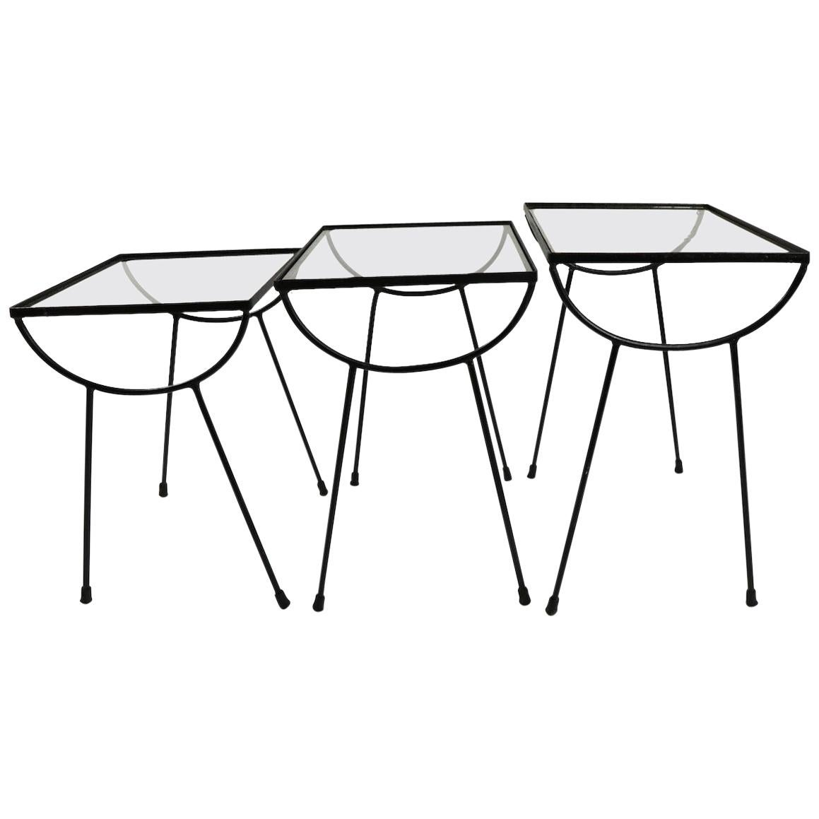 Nest of Three Wrought Iron Tables by Frank and Sons after Nelson for Arbuck