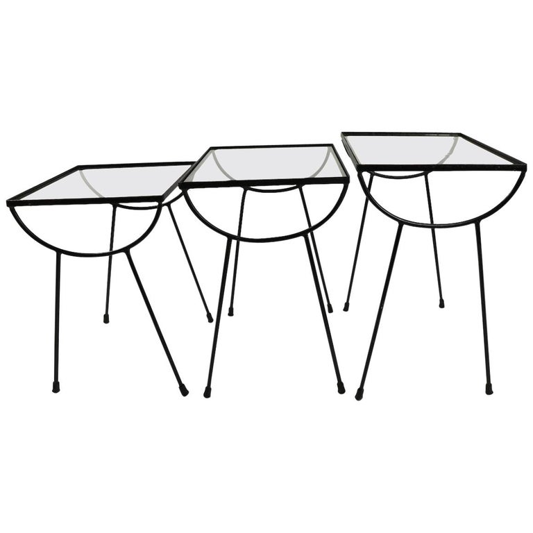 Nest of Three Wrought Iron Tables by Frank and Sons after Nelson for Arbuck For Sale