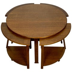 Nest of Wood Five Round Tables Signed Italy 1970s End Table