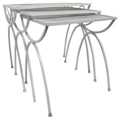 Nest of Wrought Iron Garden Patio Tables attributed to Salterini