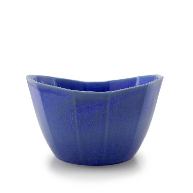 Nesting Bowl Cobalt Serving Bowl Set Modern Contemporary Glazed Porcelain In New Condition For Sale In Asheville, NC