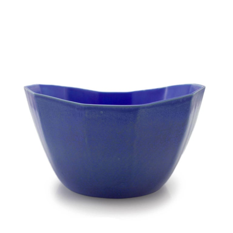 Nesting Bowl Cobalt Serving Bowl Set Modern Contemporary Glazed Porcelain For Sale 2