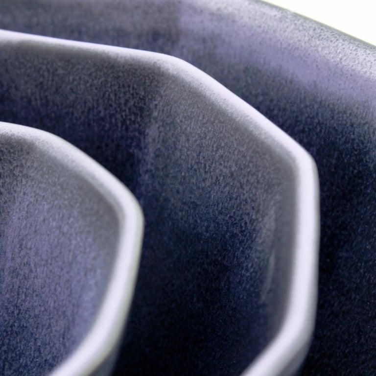 Nesting Bowl Set, Matte Black & Purple Set of Three Modern Stacking Serving Bowl 3