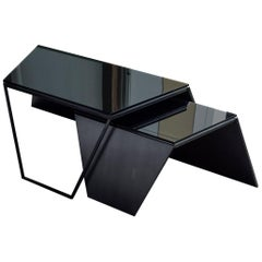 Nesting Coffee Tables in Blackened Steel and Gray Glass, by Force/Collide, 2019