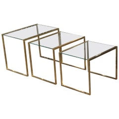 Nesting Rectangular Coffee Table Different Sizes Brass and Crystal Gold, 1970s