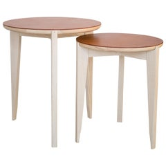 Nesting Round Tripod Side Table in Bleached Ash with Cognac Leather