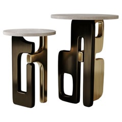 Nesting Shagreen Side Tables with Bronze Patina Brass Details by Kifu Paris