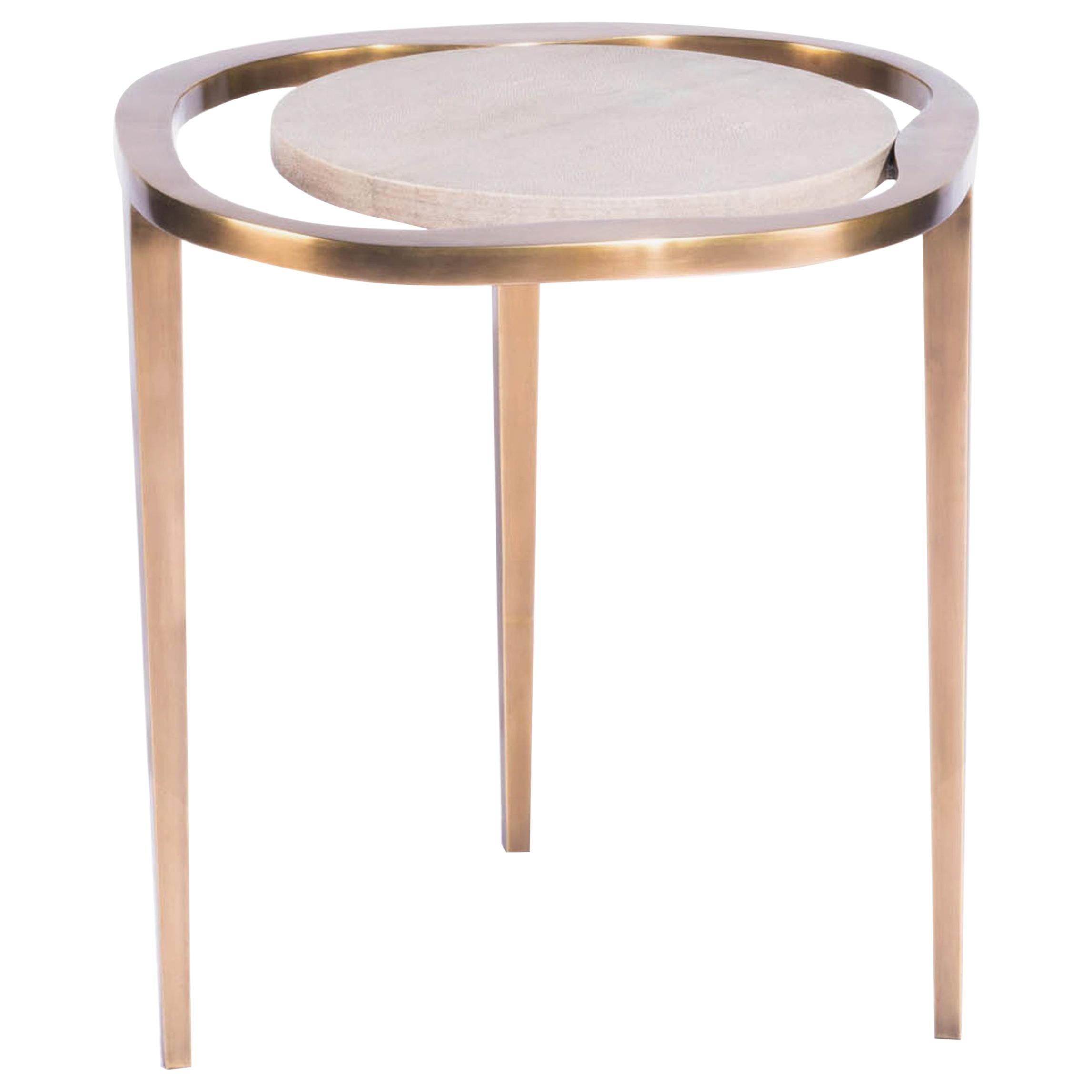 """Nesting Side Table """"Lily M"""" in Shagreen and Bronze Patina Brass by R&Y Augousti"""