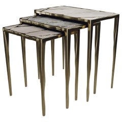 Nesting Side Tables in Shagreen, Quartz and Bronze-Patina Brass by R&Y Augousti