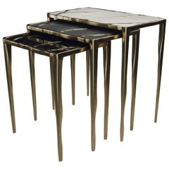 Nesting Side Tables in Shagreen, Shell and Bronze-Patina Brass by R&Y Augousti