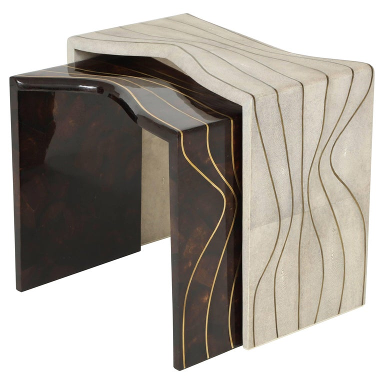 Nesting Side Tables, Shagreen & Sea Shell with Brass Details, in Stock For Sale