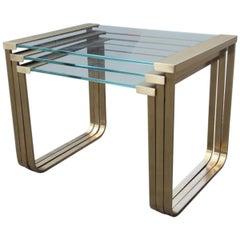 Nisten Tisch Kaffee Italienisch 1970er Jahre Messing Satiniertes Glas Gold-Farbe Rechteckig
