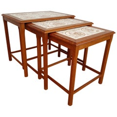 Nesting Table, Danish Design, Hand Painted Ceramic Tiles, Teak Wood, 1960s