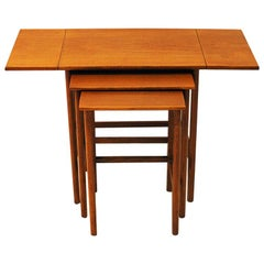 Insert Table of Teak Set of Three 1950s, Scandinavia