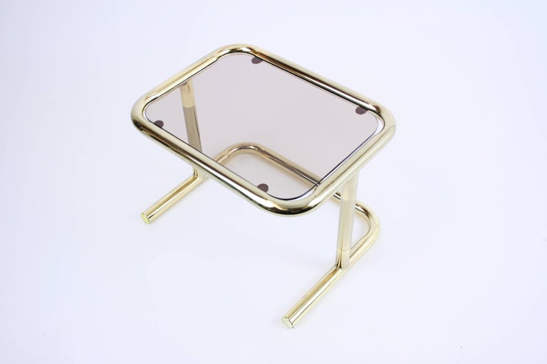 Nesting Table Set Attributed to Design Pierre Cardin, Brass Smoked Glass, France For Sale 4