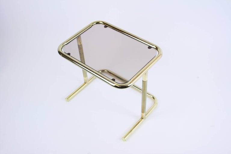 Nesting Table Set Attributed to Design Pierre Cardin, Brass Smoked Glass, France For Sale 5