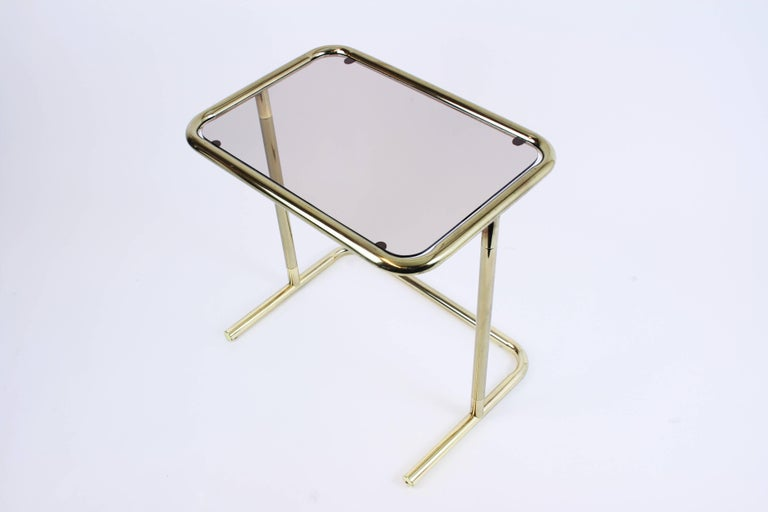 Nesting Table Set Attributed to Design Pierre Cardin, Brass Smoked Glass, France For Sale 6