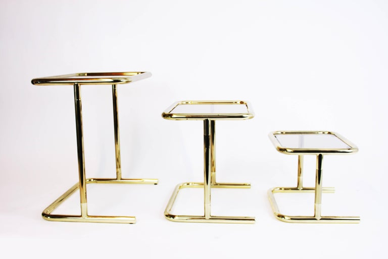 Nesting Table Set Attributed to Design Pierre Cardin, Brass Smoked Glass, France In Good Condition For Sale In Vienna, AT