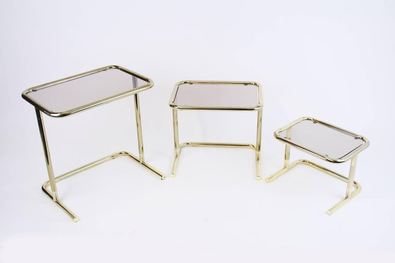 Nesting Table Set Attributed to Design Pierre Cardin, Brass Smoked Glass, France For Sale 1