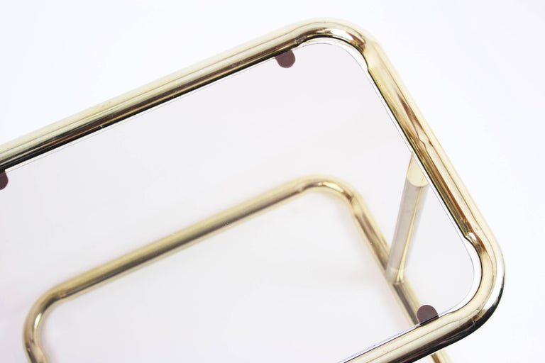 Nesting Table Set Attributed to Design Pierre Cardin, Brass Smoked Glass, France For Sale 2