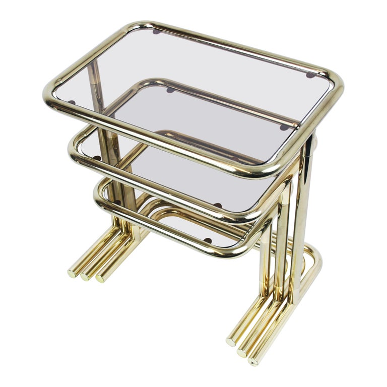 Nesting Table Set Attributed to Design Pierre Cardin, Brass Smoked Glass, France For Sale